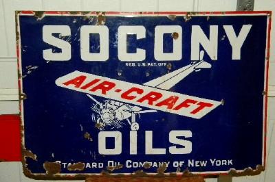 SOCONY AIRCRAFT OILS PORCELAIN METAL SIGN - Primarily