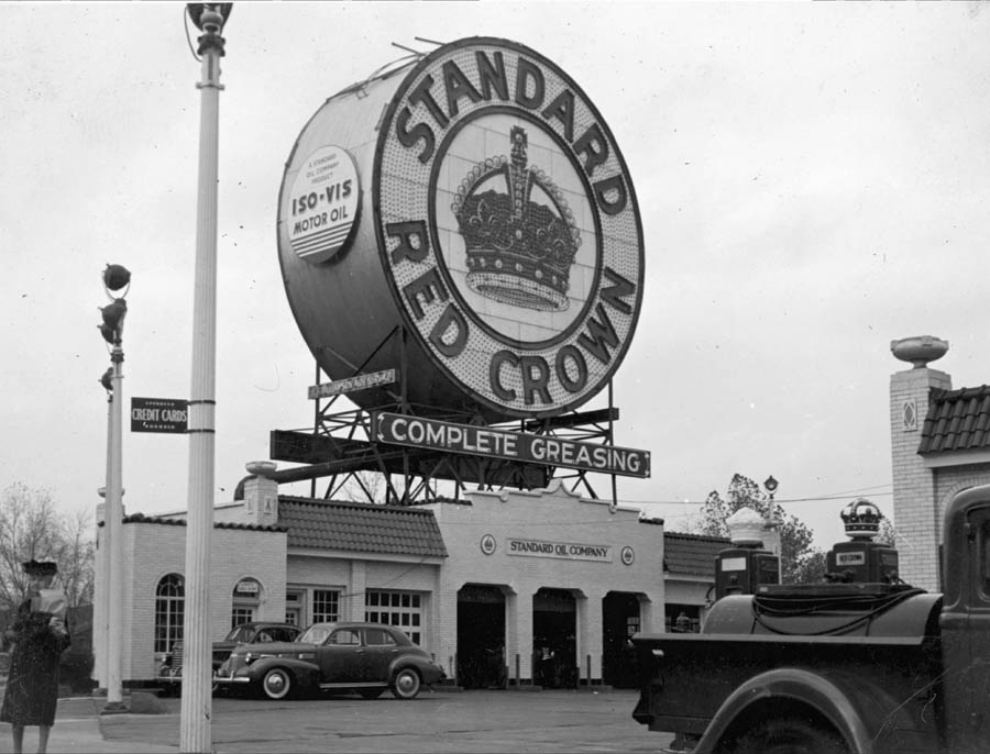 Red Crown Service Station Skinker and Clayton Roads [Charlie Mudd Standard Service The Station With the Big Sign 981 South Skinker Boulevard.jpg